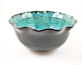 Handmade pottery bowl, stoneware bowl, black and teal pottery, Christmas gift - In stock