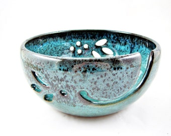 Large Yarn bowls , handmade ceramic yarn bowls , handmade knitting bowls, Teal blue - Made to order