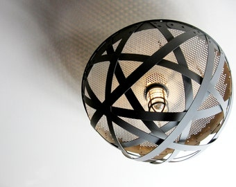 Igloo semi-flush mount ceiling urban light, recycled wine barrel hoops, metal bands, galvanized steel