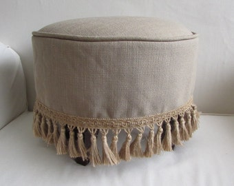 FRENCH TUFFET slipcovered  Stool/ottoman/tuffet/bench/furniture in sand beige