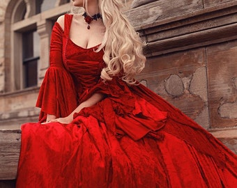 In Stock Sale! Red Velvet Gwendolyn Medieval or Renaissance Fairy Wedding Gown Velvet and Lace Sz Medium with Cape!
