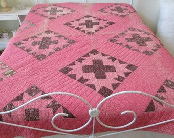 Vintage Antique Early Primitive Star Pattern Quilt HanD Quilted 70 x 84 Brown Paisley