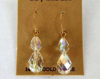 14K Yellow Gold Wire Dangling Drop Clear CRYSTAL Pierced EARRINGS