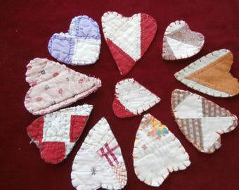 10 CUTTER QUILT HEARTS from Vintage Cotton Quilts Finished Edges Choose one or more lots