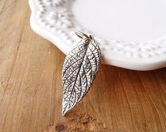 Sterling Silver Leaf Pendant, Silver Leaf Pendant, Boho Leaf Pendant, Small Silver Leaf Pendant, 32mm, (1), 10% off use code SAVE10