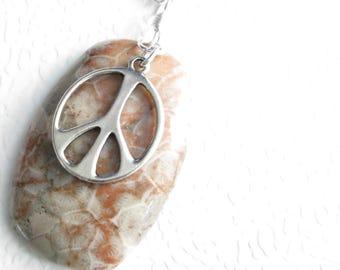 Orange Coral Fossil Pendant, Genuine Fossilized Coral Jewelry, Agate Stone Necklace, Peace Sign Pendant