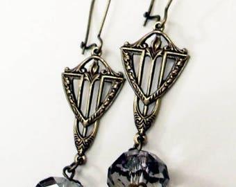 Art Deco style earrings. Crystal earrings. Bridal earrings. Beaded earrings. Boho earrings. Drop earrings. Bridesmaid earrings.