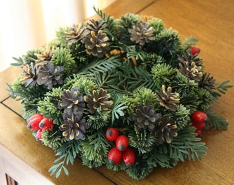 EVERGREEN: Vintage Plastic Candle Wreath / Ring, Juniper & Holly Leaves, Red Berries, Pine Cones, Looks NEW! Yule / Christmas Tabletop Decor