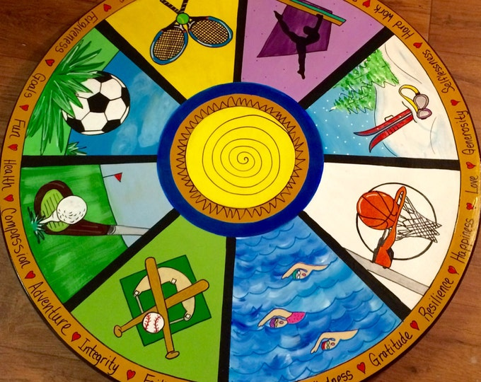 Whimsical Painted Lazy Susan, 8 section Personalized Painted Lazy Susan, Custom Centerpiece