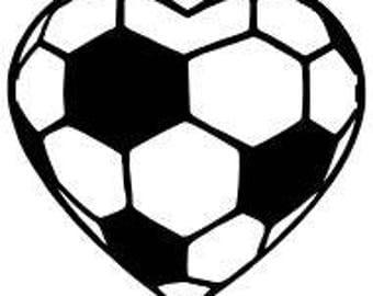 Soccer Heart Decal Etsy