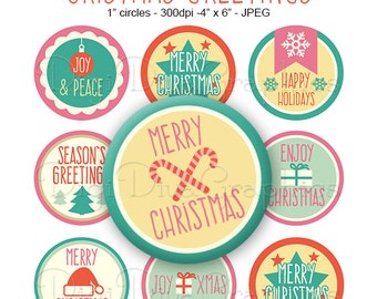 Christmas Greetings Sayings Bottle Cap Images 1 Inch Circles Digital JPG - Instant Download - BC1111