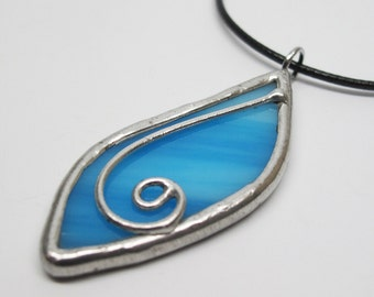 Blue Leaf - Stained Glass Pendant