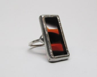 Spicy - Sterling Silver Stained Glass Ring - Size 7.5