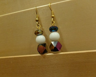 AB and white drop earrings