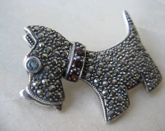 Terrier Dog Marcasite Sterling Brooch Garnet Topaz Puppy Silver Vintage Pin 925 Scottie