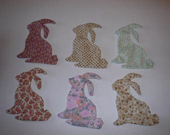 Bunny Appliques for quilts etc    Press and Sew     Set of 6       item 124