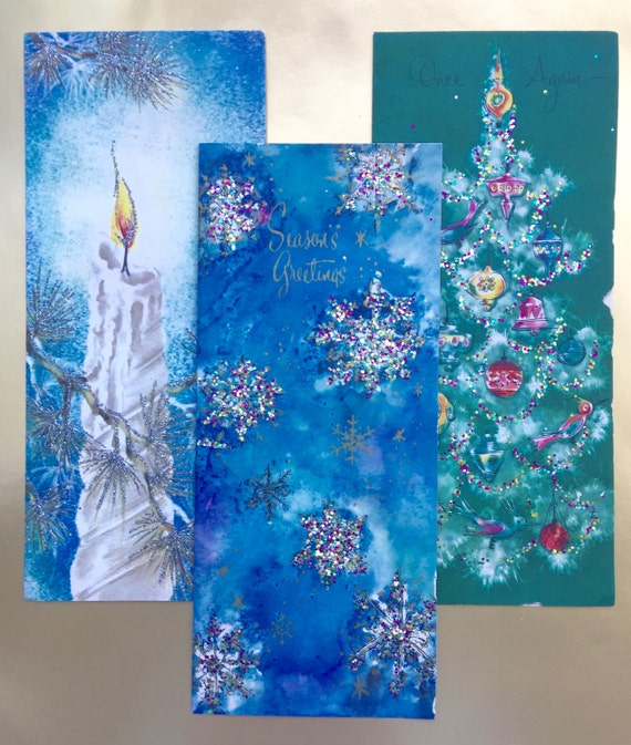 Large Vintage Christmas Cards Lot of 9 Craft Supplies Scrapbooking Decoupage Mixed Media