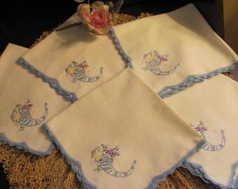 Set 5  Floral Embroidered Cotton Napkins,Crochet Edges