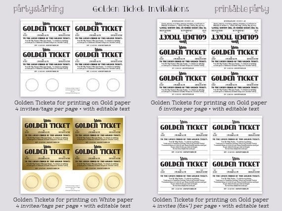 Golden ticket invitations printable willy wonka invitations golden ticket invitations printable willy wonka invitations willy wonka birthday party charlie and the chocolate factory diy editable pdf pronofoot35fo Images