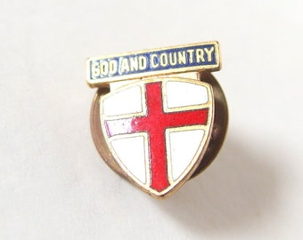 Vintage God and Country Boy Scout Lapel Pin, Mid Century