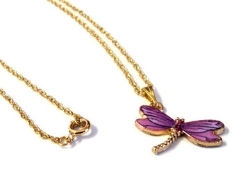 "18"" Chain 14k Gold Plated Dainty Necklace with Gold and Purple Dragonfly Pendant, Gift for Her, Dragonfly Lover Gift"