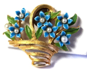 Gold Toned with Blue Green White Basket of Flowers Magnet, Upcycled Brooch Magnet,