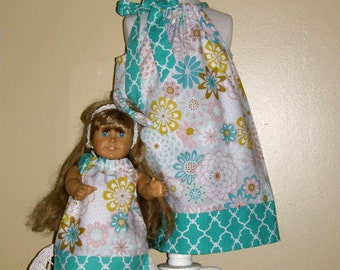 doll and me dress Matching Doll and me  dress teal floral  dress   size  12 months , 2t, 3t, 4t, 5t. 6.7.8.10.12