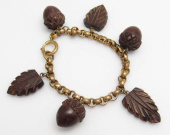 Art Deco Charm Bracelet Wood Acorn Charm Leaves Vintage Jewelry B7777