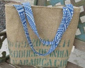 Sale 45% off Burlap tote coffee bag repurposed green bean coffee sack beach bag carry all recycled