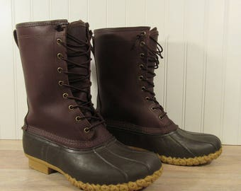 REDUCED....Like new LL Bean insulated Gortex Maine Hunting boot brown leather upper rubber bottom- fits men size 10-10.5- great condition