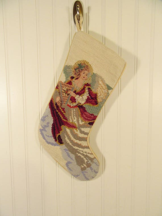 Vintage Needlepoint Christmas Stockings.Christmas Angel Needlepoint Stockings Christmas Wikii
