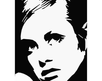Twiggy 1960s Style Black and White Pop Art Poster Print