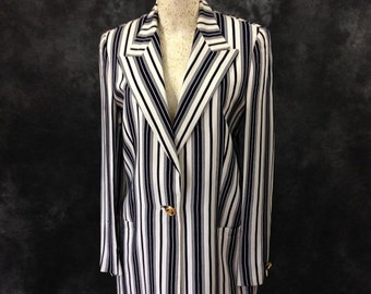 Vintage 1990's navy and white striped Gianni Versace Couture suit high waist size 42 small summer suit