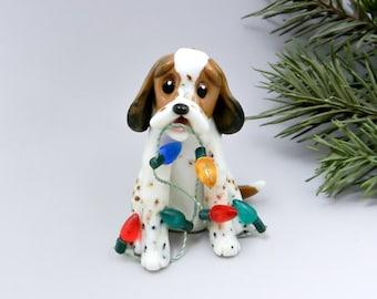 Beagle Dog Tricolor Christmas Ornament Figurine Lights Porcelain