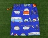 VW van, scooter & vehicles large library bag, kindy sheet bag or toy bag