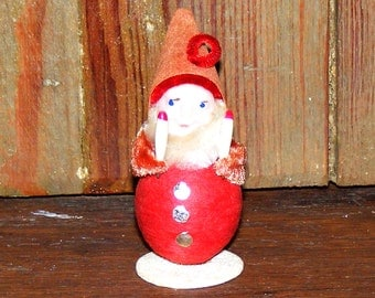 Vintage Red Spun Cotton Gnome or Pixie Elf with Chenille Trim holding candles Japan