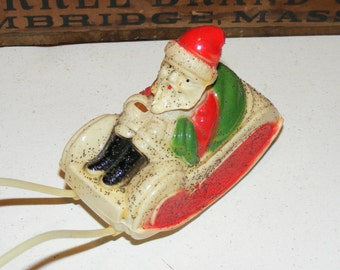 Vintage Celluloid Santa and Sleigh USA Holiday Decoration