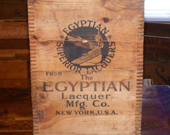 SALE Antique Rare Egyptian Superior Lacquer Mfg Co New York Finger Jointed Printed Wood Box