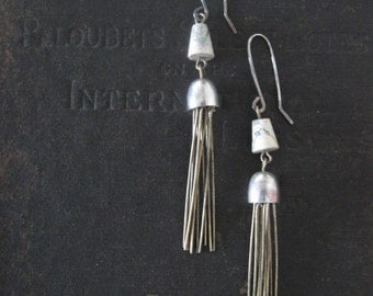 Robot Jellyfish - Dangle Earrings With Wire Fringe and Agate - Sterling Ear Wires