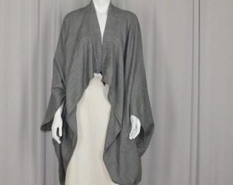 wrap coat, kimono, cocoon coat, houndstooth wool