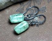 Green Kyanite Earrings Antiqued Sterling Silver Green Gemstone Earrings Luxe Rustic Jewelry