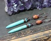 Turquoise Stone Earrings Copper Wire Wrapped Magnesite Gemstone Spike Earrings Long Blue Green Earrings