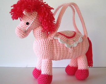 Pink Pony Horse Purse Crochet Pink with Sparkle White Saddle  for Girls