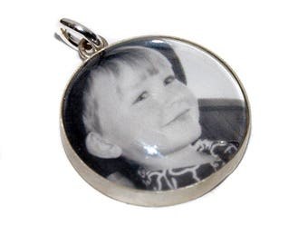 18mm Custom Sterling Silver Photo Charm with Glass