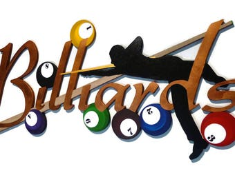 Rack Em Up billiards Wall hanging, Pool Room Wall Art, Billiards Wall Sculpture, Game Room, Handmade, 42x18 by Art69