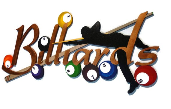 Rack Em Up billiards Wall hanging Pool Room Wall Art