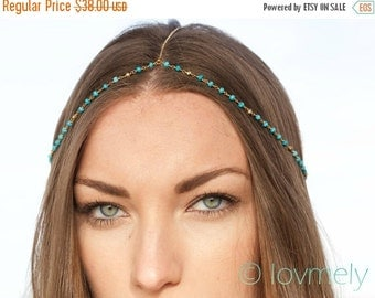 Anniversary SALE HALEY - Turquoise head chain / headpiece / headchain