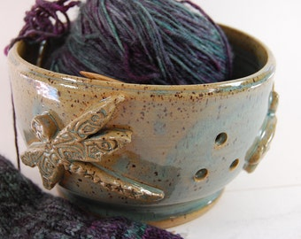 Pottery Yarn Bowl  Knitting, Crochet, Dragonfly With Sea Spray Glaze