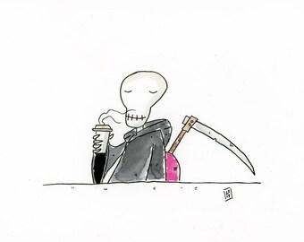 Death enjoying a cup of coffee