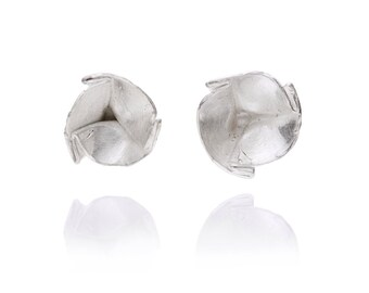 One of a kind small folded cup sterling silver stud earrings